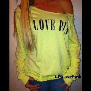 "Pink vs ""love pink"" Crew Off-Shoulder Sweatshirt M"